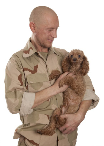 military man holding a dog